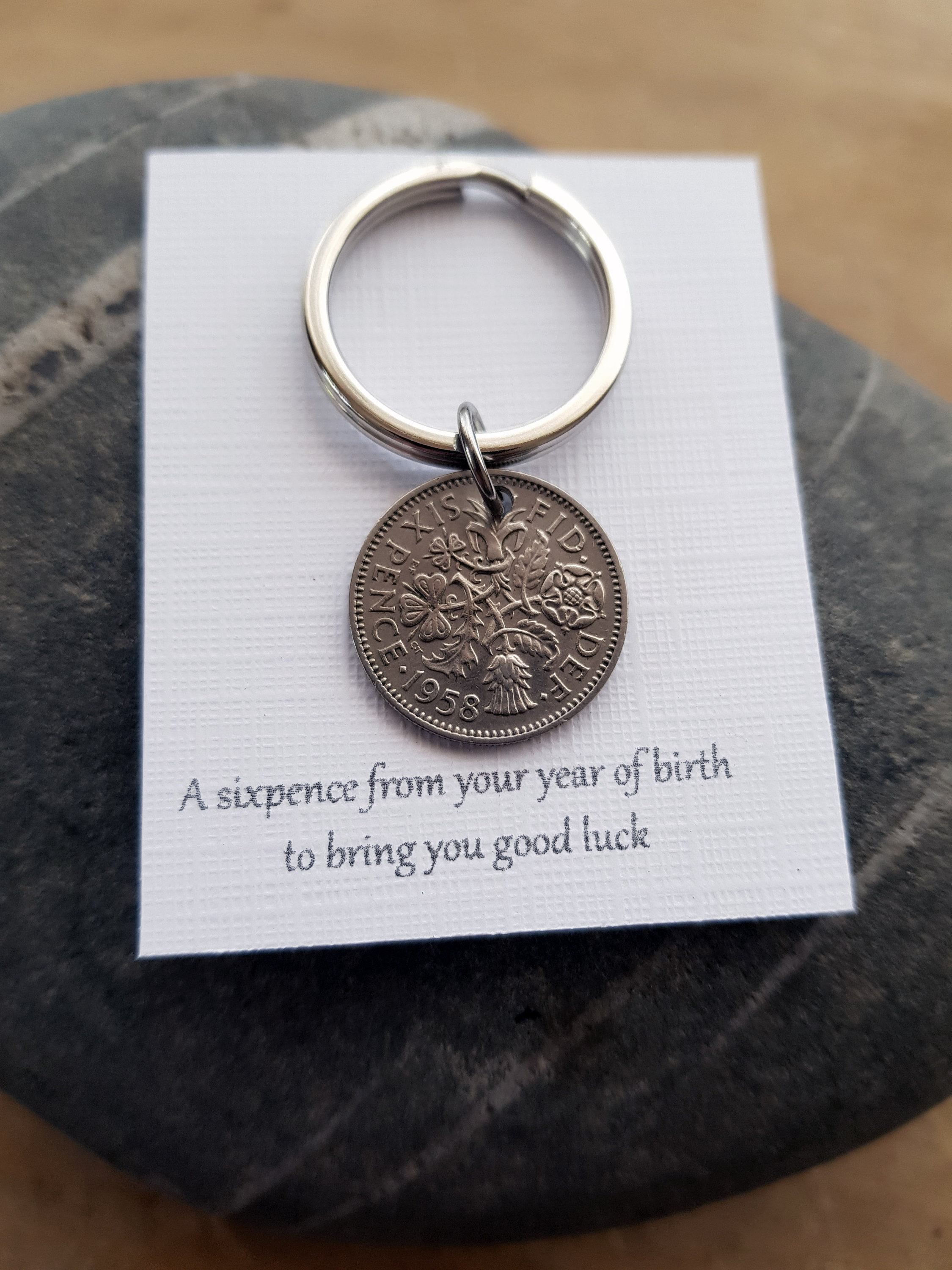 Birth Date Keyring 1958 Lucky Sixpence Birthday Gift For Men Year Of Dads Grandad Grandma